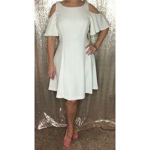 Bridal shower dress • cream cold shoulder